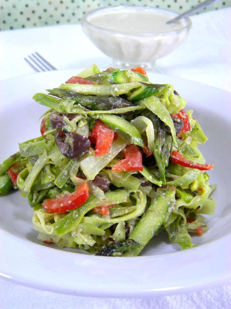 asparagus ribbon salad with creamy garlic sauce buttery asparagus ...