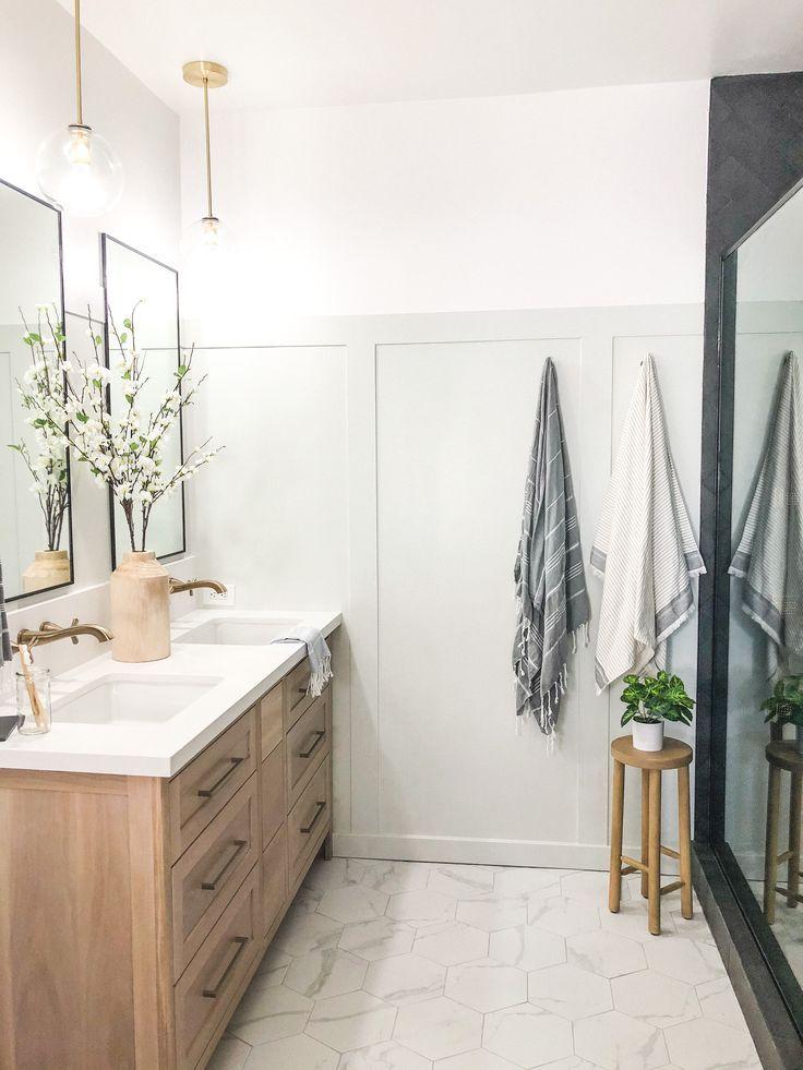 Neutral California Casual Master Bathroom Decor Hexagon Tile And Herringbone Shower Tile In 2020 Badkamer Decoratie