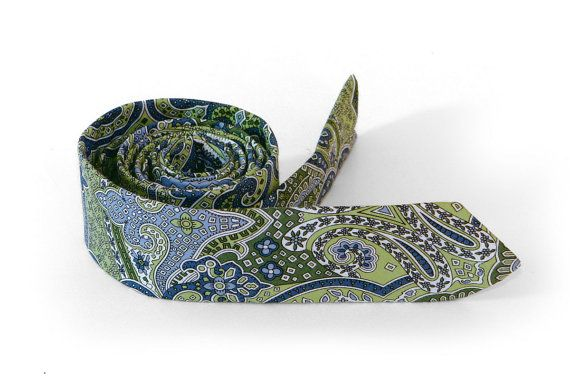 Moss Green Paisley Tie / Men's skinny tie / by TheBestBoysTies $14