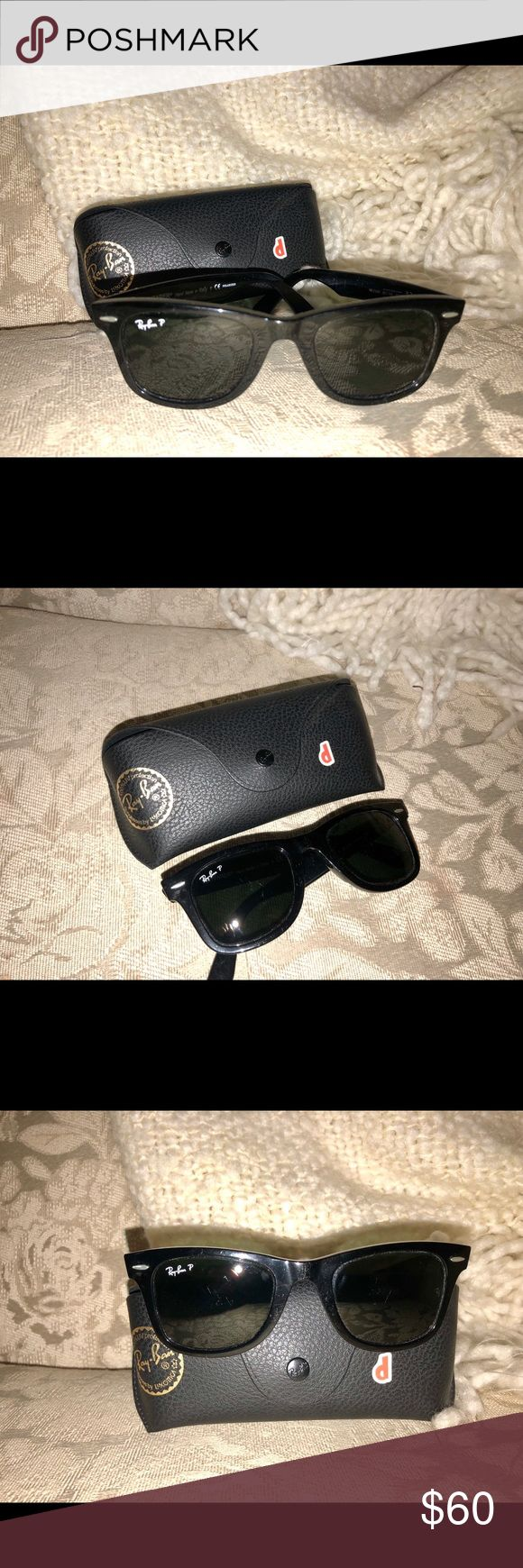 Authentic Polarized Ray-Ban Wayfarer Sunglasses Ray-Ban polarized black wayfarer sunglasses, scratched slightly as shown in the pictures but still in good condition! Ray-Ban Accessories Sunglasses