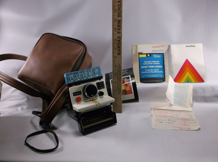 Vintage Polaroid One Step Land Camera SX-70 White Rainbow Stripe Clean & Nice With Bag Paperwork.Not Tested epsteam