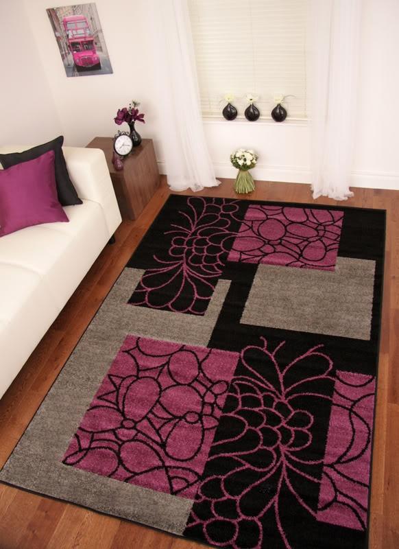 Details about toledo black purple aubergine grey modern for Cheap modern living room rugs