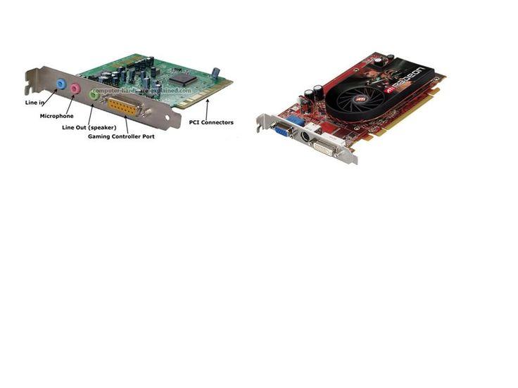-Una tarjeta de sonido o placa de sonido es una tarjeta de expansión para computadoras que permite la salida de audio controlada por un programa informático llamado controlador (en inglés driver).  -Tarjeta de vídeo, placa de vídeo, tarjeta aceleradora de gráficos o adaptador de pantalla, es una tarjeta de expansión para una computadora u ordenador, encargada de procesar los datos provenientes de la CPU y transformarlos en información comprensible y representable en un dispositivo de salida.