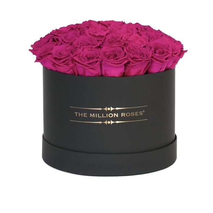 Medium Hot Pink Eternity Roses Sphere Black Box Pink Garden Million Roses Rose
