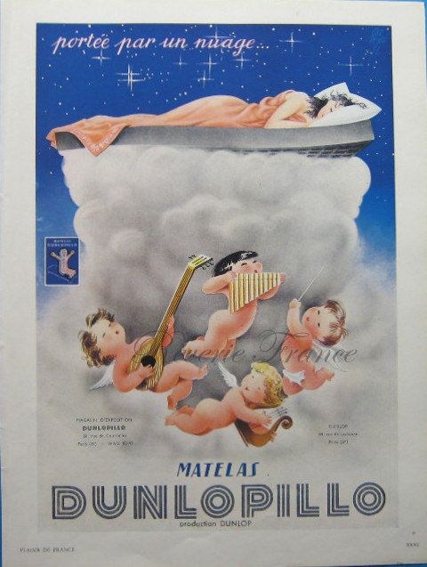 Original Vintage French Ad Dunlopillo 1952 by reveriefrance #vintage #ad #dunlopillo #garretto #wall #decor #midcentury #angels #cloud #nuage