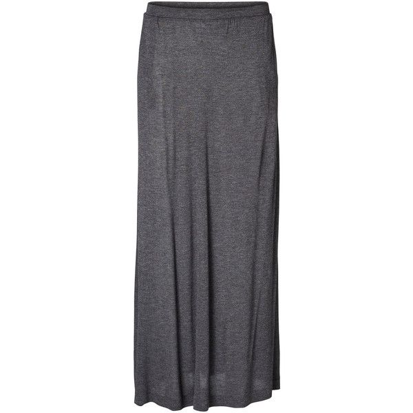 Vero Moda Loose Maxi Skirt ($15) ❤ liked on Polyvore featuring skirts, dark grey melange, long skirts, vero moda, maxi skirts, dark grey maxi skirt and ankle length skirts