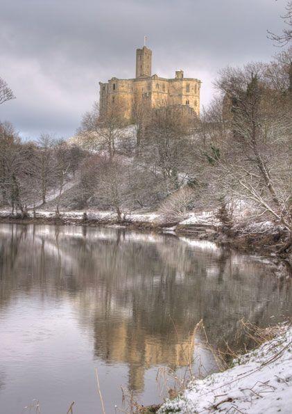 Warkworth Castle Snowy Reflections, Northumberland, UK