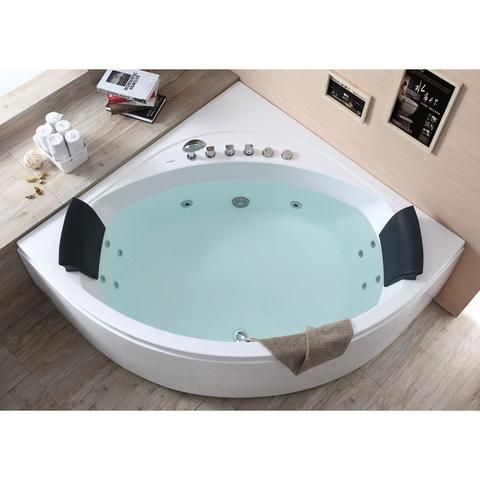 Whirlpool Tub - EAGO AM200 5' Rounded Modern Double Seat Corner Whirlpool Bath Tub With Fixtures
