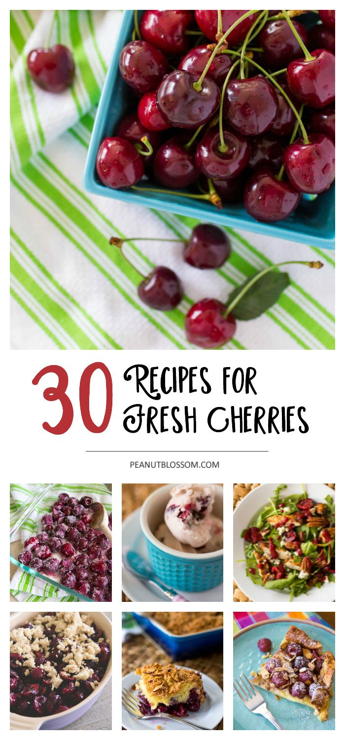 30 recipes for fresh cherries: yummy cherry dessert recipes, savory cherry recipes for dinner, and healthy cherry recipes for smoothies and low carb diets. Everything you need to know about preparing fresh cherries for freezing or recipes here!