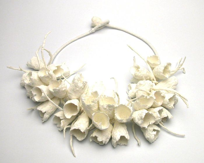 Paper Jewellery - sculptural necklace inspired by organic form - alternative materials; art jewelry // Ana Hagopian