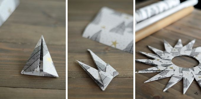 Yes! Origami star ornaments made from wrapping paper!