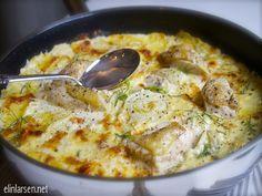 Fløtegratinert potet med fennikel og kyllingbiter