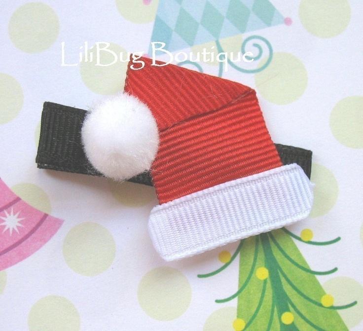 LiliBug Ho Ho HO Santa Hat Hair Clip. $5.00, via Etsy.