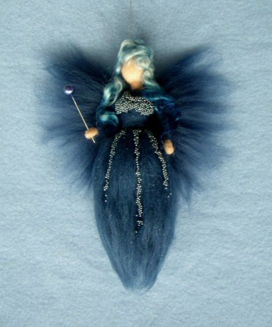 MIDNIGHT FAIRY  needle felted Wool  Doll Fairies Baby Soft Sculpture Waldorf Inspired