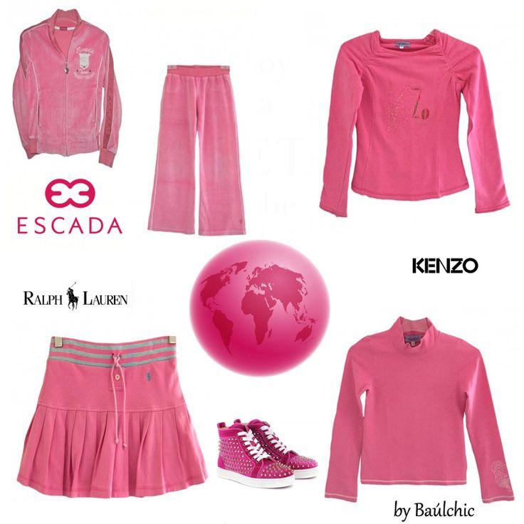 ROSA: El color de las princesas ..... ¿Cuántas veces nos hemos imaginado que todo sería de color #rosa? Hoy te proponemos para ellas #ropa casual con su color preferido. http://www.baulchic.com/285e-shop-raqu…/conjunto-escada.html http://www.baulchic.com/52…/falda-pantalon-ralph-lauren.html http://www.baulchic.com/280e-shop-raque…/sudadera-kenzo.html http://www.baulchic.com/281e-shop-raquel-g/polo-kenzo.html 