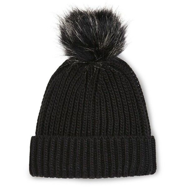 Topshop Faux Fur Pom-Pom Beanie Hat (8,09 HRK) ❤ liked on Polyvore featuring accessories, hats, beanie, black, pom pom hat, faux fur pom pom beanie, pompom hat, pom pom beanie hat and faux fur beanie