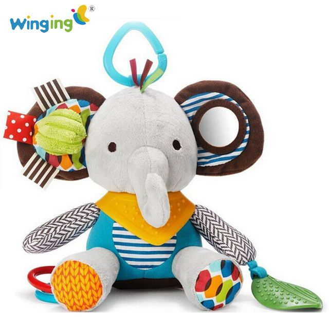 Baby Infant Cute Elephant Plush Toy Comfort Baby Care Silicone Teether Toy with Sound Soft Appease Stuffed Toy Playmate s084