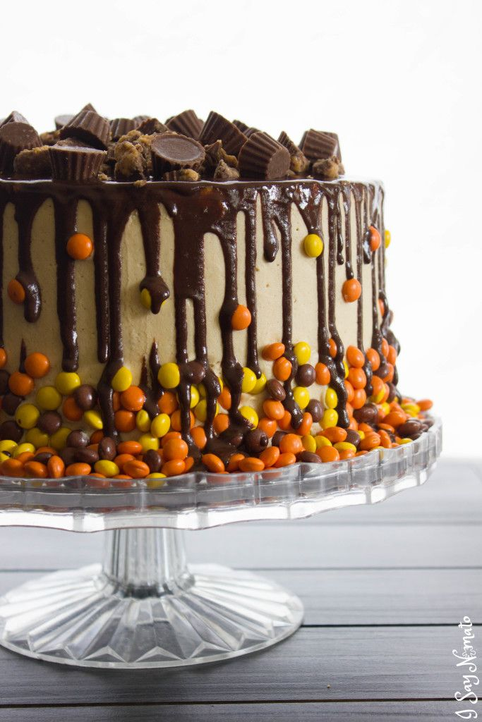 Chocolate and Peanut Butter Drip Cake  - Sean's bday cake