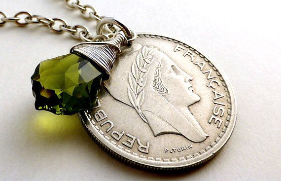 Coin necklace French necklace Swarovski necklace by CoinStories