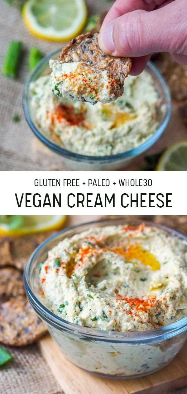 Vegan Cream Cheese with Scallions and Cilantro (GF, Paleo)