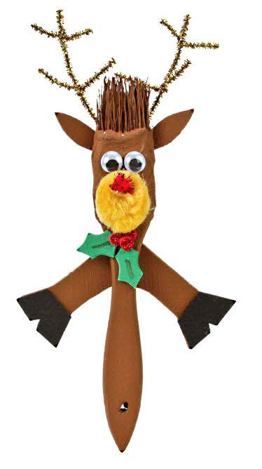 Nicole™ Crafts Reindeer Paintbrush #christmas #kids #craft