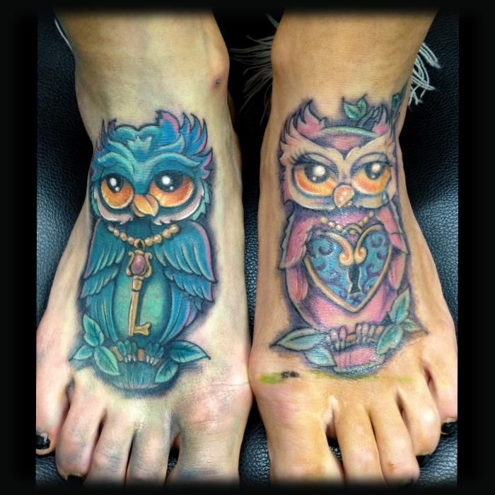 Owls heart lock key tattoo love pinterest for Owl heart tattoo