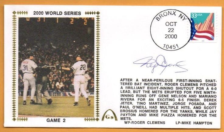 Roger Clemens 2000 World Series Game 2 Signed Gateway Stamp Cachet