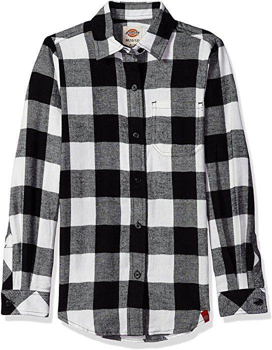 cf8cd8e17e3 Dickies Big Girls  Long Sleeve Flannel Shirt