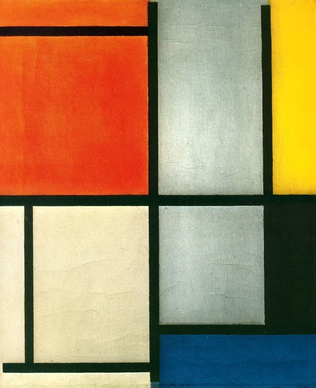 Tableau 3 with Orange -Red, Yellow, Black, Blue and Gray, Piet Mondrian