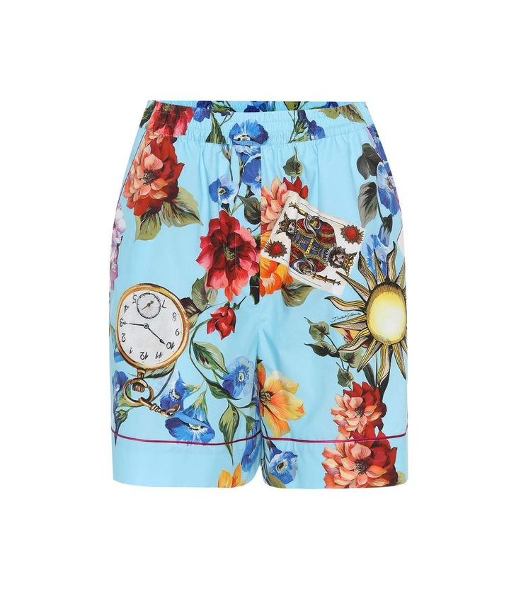 Dolce & Gabbana Multicoloured floral clock-print shorts