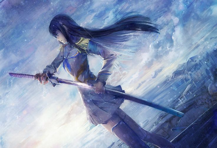 #Kill la Kill, #Kiryuin Satsuki, #katana, #thigh boots, #ribbons, #skies, #clouds, #anime girls, #anime   Wallpaper No. 172738 - wallhaven.cc