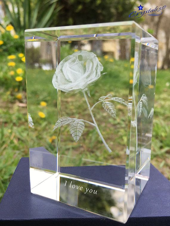 Anniversary gift I love you gift 3d rose by Crystals3DEngraving