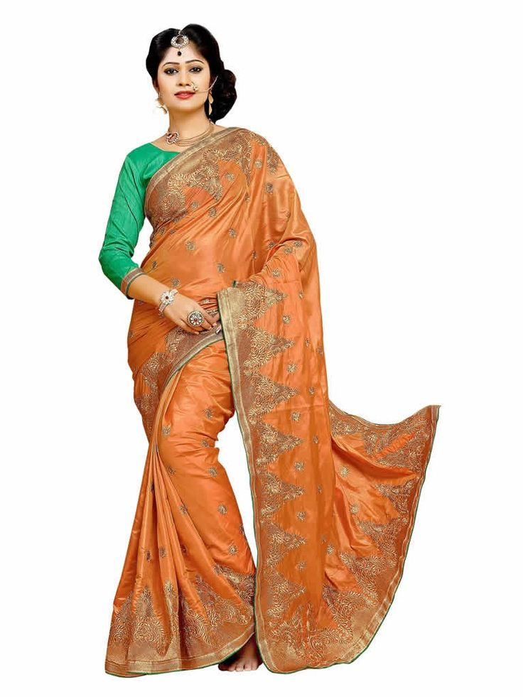 buy saree online Designer Orange Colour Silk Fabric Banglori Silk Blouse Saree Buy Saree online - Buy Sarees online