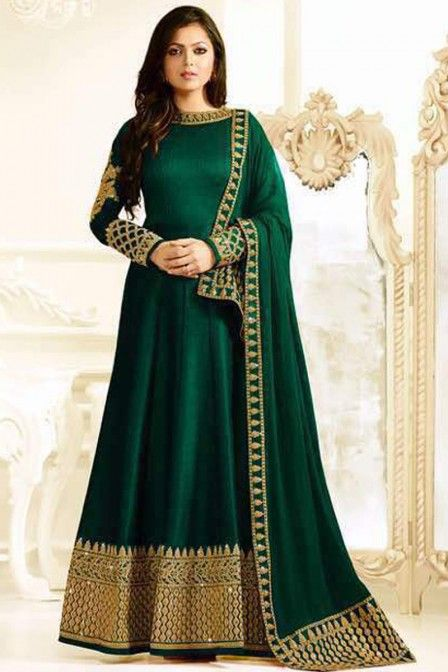 Green Color Silk Fabric Heavy Embroidered Gorgeous Look Indian Women Fashion Drashi Dhami Wedding Wear Floor Length Anarkali