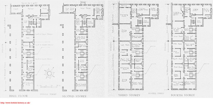 Blueprints for houses on the East Side of the Piazza
