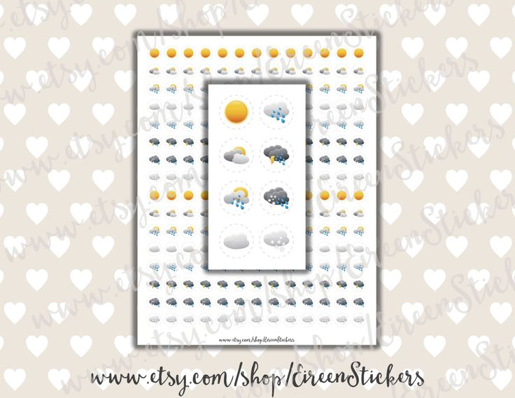 Weather Stickers Printable Erin Condren Printable Stickers Mambi Happy Planner Weather Tracking Calendar PDF - Instant Download (2.00 USD) by EireenStickers