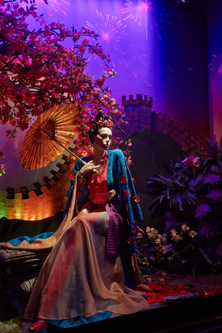 Disney princess couture window at Harrods, Christmas 2012 - Mulan designed by Missoni <3