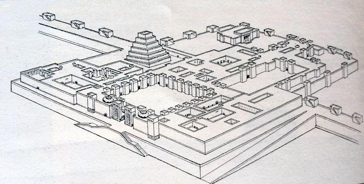 LA MESOPOTAMIA E LA PERSIA RICOSTRUZIONE GRAFICA DEL PALAZZO DI KHORSABAD, VICINO AL NINIVE.  Costruito dal re Sargon IIverso la fine dell'VIII secolo, il palazzo occupava uno spazio di 10 ettari ed era formato da 700 stanze. Tre porte monumentali, fiancheggiate da colossali sculture di Tori o leoni alati, immettevano  in vasti cortili... #art #architettura #mesopotamia #ziggurat #Khorsabad #history #storia