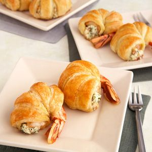 Puff Pastry-Wrapped Jumbo Shrimp Want to impress your guests? Then whip up a batch of these delectable puff-pastry wrapped shrimp stuffed with a mix of cheese, bacon and parsley. They're superb!