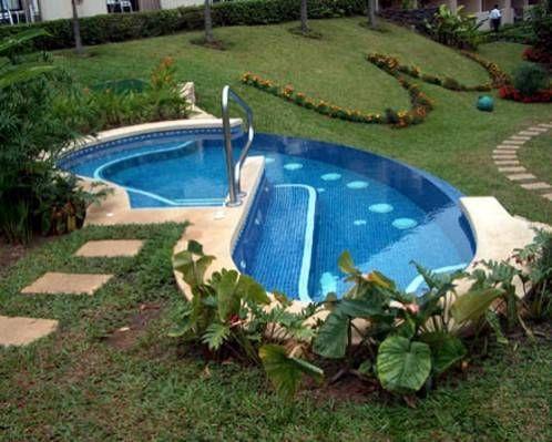 Small pool idea for sloped yards...HEY! I have a sloped yard! I like pools!