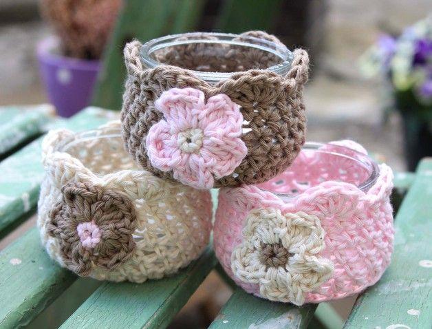 Teelichthalter - shabby Windlicht Set Minivase Teelicht Glasvase - ein Designerstück von Handmade-Erzgebirge bei DaWanda