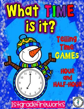 Snowman themed TELLING TIME games.Telling time to the hour and half-hour.Includes:...Sorting Mats...Sorting Cards...Matching Mats...Matching CardsMultiple game formats.Available in color & B/W