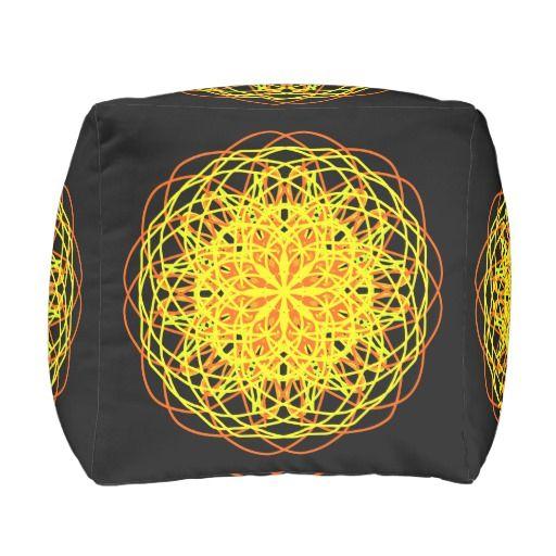 Cotton Cubed Pouf, Kaleidoscope Yellow Black
