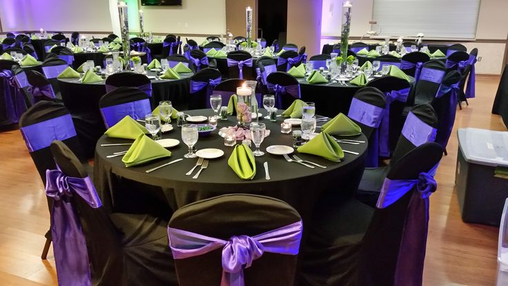 Black Chair Covers With Purple Satin Sashes Loop Tie