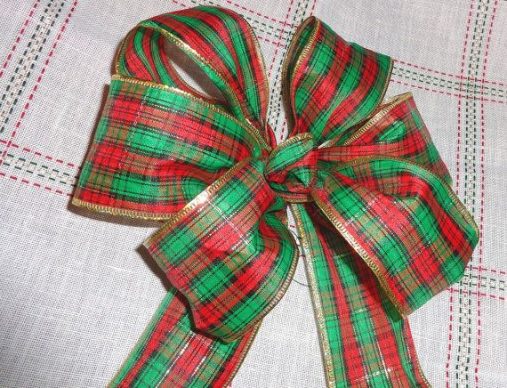 Red Green Plaid Gift Bow Wreath Bow Package Decoration
