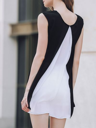 Cap Sleeve Hit Color Chiffon Dress WHITE AND BLACK: Chiffon Dresses | ZAFUL