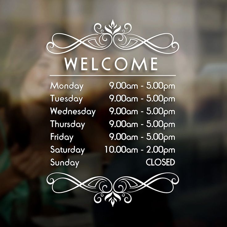 Opening hours times sign self adhesive shop window sticker decal design s