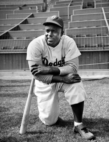 Jackie Robinson poses for LIFEs Allan Grant during filming of The Jackie Robinson Story, 1950.