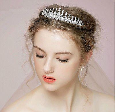 Wedding-Bridal-Pageant-Crystal-Rhinestone-Silver-Headband-Hair-Accessories-Tiara