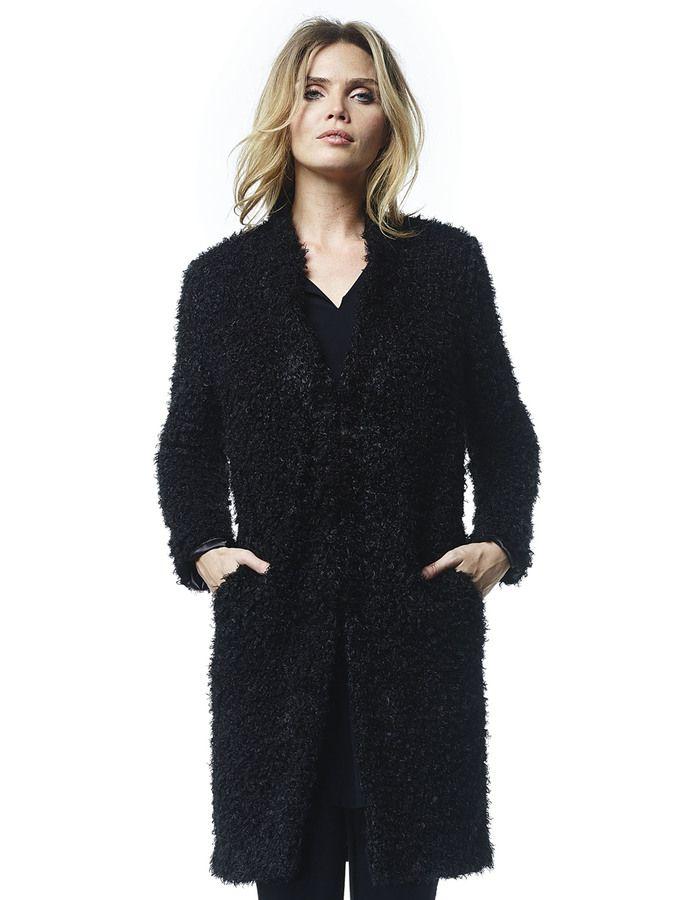 Edie - zwart - Faux shearling jas | LaDress (199)